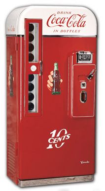 """The classic Vendo 81-D Coca-Cola Machine. This 1957 classic is the quinticential machine for """"Coke heads"""" and allowed the vendor to keep 81 bottles of ice-cold Coke ice-cold and ready for your refreshment!"""