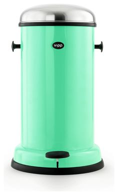 VIPP Copenhagen Green Trashcan (robot?). Add to iList Apps® Wedding Registry at www.ilistapps.com