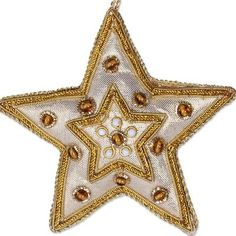 Beadwork ornaments, 'Glorious Star' (set of - Gleaming Gold Stars Christmas Beadwork Ornaments Set of 5 (image Family Ornament, Star Ornament, Diy Ornaments, Embroidered Christmas Ornaments, Christmas Star, Xmas, Gold Work, Gold Stars, Beadwork