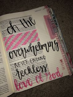 """Reckless Love Bible Journaling Related to the song """"Reckless Love"""" by Cory Asbury Bible Notes, My Bible, Bible Art, Bible Drawing, Bible Doodling, Bible Study Journal, Scripture Study, Scripture Lettering, Bible Verses Quotes"""
