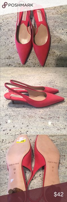 Michael Kors suede shoes Beautiful Never Worn Michael Kors sling back pumps. Coral suede. Kitten heel. Tiny black spot  on one of the shoes, otherwise they are in perfect condition. Michael Kors Shoes Heels