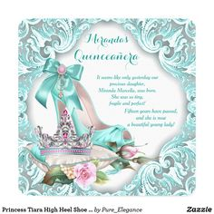 Princess Tiara High Heel Shoe Quinceanera Card Elegant teal blue Quinceanera invitation with pretty teal blue high heel shoe and diamond jewel tiara on a beautiful teal blue swirl background. This once upon a time princess Quinceanera invitation is easily customized for your event by simply adding your details in the font style and color and wording of your choice. You can also change the background color.