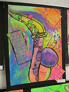 4th grade jazz instruments. Mixed media. Color inspired by mood inspired by song.