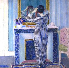 ⊰ Posing with Posies ⊱ paintings  illustrations of women  children with flowers - Blue Interior (1912-13) by Frederick Frieseke