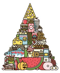 """Food Pyramid"" Art Print by Burlesque Design"