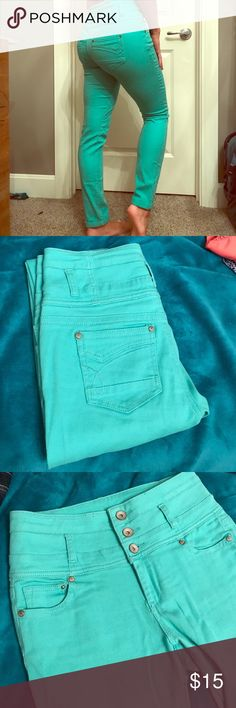 Turquoise High-waisted Jeans The color is hard to capture in this picture but the main cover photo represents the true color the best. These jeans don't look worn and are high-waisted! Great quality 👍🏽 refuge Jeans Skinny