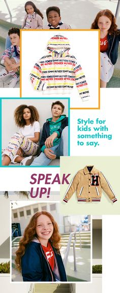 11220d32 Tommy Hilfiger gives you outfits for kids and teens with something to say.  Bright slogan prints for girls, varsity letters for boys.