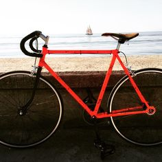 Single speed custom bike with orange frame, black fork, black handlebar grip and camouflage saddle.