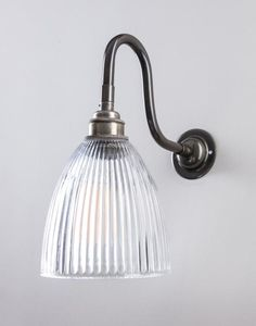 Old School Electric elongated prismatic swan arm wall light