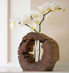 unique flower vase using a wood slice