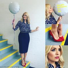 A day to remember: Holly Willoughby turned 35 on Wednesday and celebrated in style alongsi. Summer Work Outfits, Office Outfits, Cool Outfits, This Morning Fashion, Holly Willoughby Style, Corporate Fashion, Work Chic, Pretty Shirts, Business Outfits