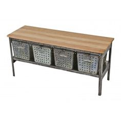 vintage american industrial single row locker basket shelving unit repurposed into a low-lying stationary coffee table with matching metal wire baskets and newly added solid maple wood top Repurposed Lockers, Vintage Lockers, Metal Lockers, Repurposed Items, Nest Furniture, Metal Furniture, Industrial Furniture, Table Furniture, Furniture Ideas