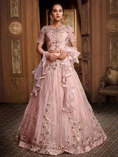 Online Shopping of Hand Work Fancy Fabric Bridal Lehenga In Pink with Designer Choli from SareesBazaar, leading online ethnic clothing store offering latest collection of sarees, salwar suits, lehengas & kurtis Lehenga Dupatta, Pink Lehenga, Bridal Lehenga Choli, Saree Wedding, Sarees, Eid Dresses, Party Wear Lehenga, Lehenga Choli Online, Ahmedabad