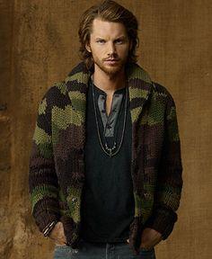 Denim & Supply Ralph Lauren Sweater, Camo Shawl-Collar Cardigan - Mens Sweaters - Macy's