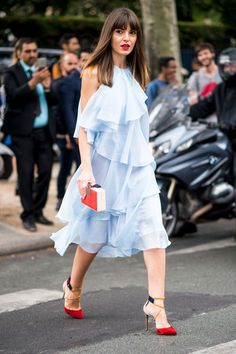 Pale Blue Ruffles With Red Accessories - Ridiculously Chic Street Style at Paris Fashion Week - Photos