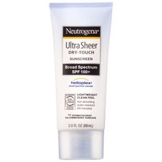 Into the gloss, great under makeup, no sheen. Neutrogena Ultra Sheer Dry-Touch Sunblock SPF 100+ - 3 oz.