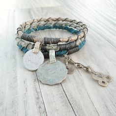 Silk Road Gypsy Bangle Stack - Hamadan - 3 Bohemian Tribal Bracelets, Silk Wrapped, Sage, Teal, Taupe