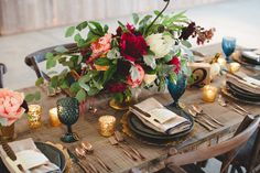 Stunning rich & rustic tables and settings. #rusticwedding #weddingideas #tablescape