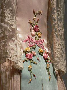 Blush silk satin and ivory silk chiffon evening dress French 1922 Detail 1 by mharrsch, via Flickr