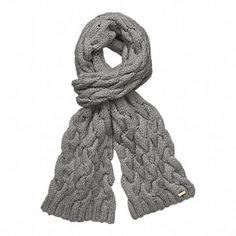 Coach. gray braided cable scarf