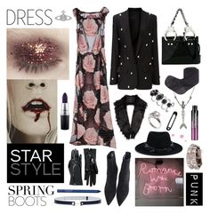 """dark floral spring"" by nothingisnormal ❤ liked on Polyvore featuring Moschino, Vivienne Westwood, Gucci, Gianvito Rossi, MAC Cosmetics, Racil, MA'AN, Marc Jacobs, Unreal Fur and No Tomorrow"