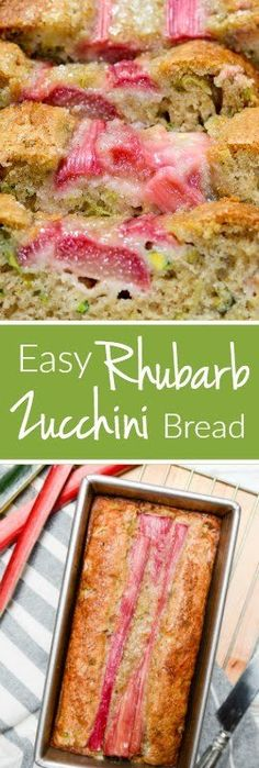 It takes only 10 minutes to get Easy Rhubarb Zucchini Bread in the oven. This sweet recipe has a perfect hint of tartness and is every bit as moist as. Rhubarb Zucchini Bread, Zuchinni Bread, Zucchini Loaf, Healthy Zucchini Muffins, Zuchinni Desserts, Zucchini Casserole, Rhubarb Desserts, Easy Rhubarb Recipes, Rhubarb Rhubarb