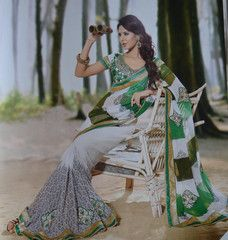 #White and #green color #wrinkle #chiffon #designer #saree #sari