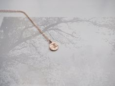 Hand Stamped Rose Gold Initial Necklace by UESExclusively
