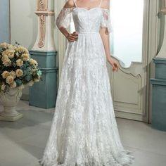Dressv ivoire manches courtes dentelle robe de mariee a ligne bretelles zipper up longue dentelle de