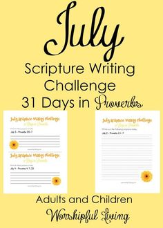 July Scripture Writing Challenge is here! Don't let summer take away your time in God's Word! Use it to dig deep into the book of Proverbs!