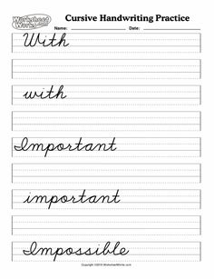 Cursive Handwriting Practice, Teaching Cursive, Cursive Alphabet, Improve Your Handwriting, Penmanship, Worksheets, Improve Yourself, Calligraphy, Lettering