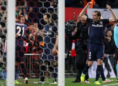 Atletico Madrid's French forward Antoine Griezmann (2nd L) celebrates a goal with Atletico Madrid's Uruguayan defender Diego Godin (R) and Atletico Madrid's defender Juanfran (C) during the Champions League quarter-final second leg football match Club Atletico de Madrid VS FC Barcelona at the Vicente Calderon stadium in Madrid on April 13, 2016.