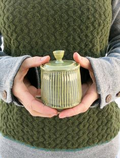 Ceramic Mini Jar in Jade Green Stripes Weed Pot Container Porcelain Clay, Big Sky, Finding Peace, Ceramic Artists, Jade Green, Green Stripes, Handmade Art, Cookware, Utensils