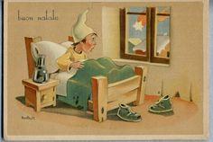 BONFANTI Buon Natale  Bambino stupito dalla Stella Cometa PC Circa 1940