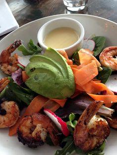 Holbrook Farms Salad with grilled shrimp, Oak + Almond - Norwalk, CT Grilled Shrimp, Connecticut, Farms, Almond, Brunch, Salad, Ethnic Recipes, Food, Broiled Shrimp