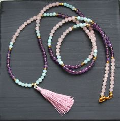 Beautiful tassel necklace with semi-precious stones