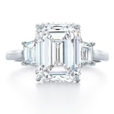 Emerald-cut diamond and platinum ring by Kwiat