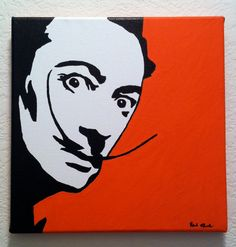 Salvador Dali 10x10 Pop Art Painting with Orange by anINSTITUTE, $40.00