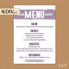 PRINTABLE 5x7 Wedding Menu Rehearsal Dinner Menu  by DIVart