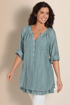 Silk Terra Tunic - Eyelet Lace Cotton And Silk Tunic, Scoop Neckline, Tops | Soft Surroundings