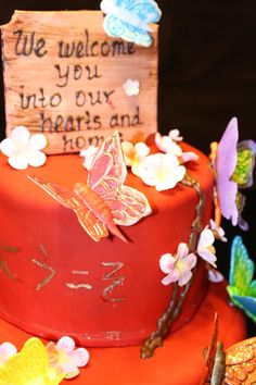 Welcome an exchange student into your hearts and home! Cake made for a Japanese exchange student by her new host family.
