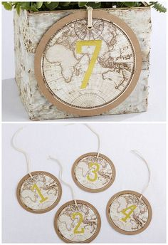Keep things simple but striking with these vintage globe travel table numbers. These travel-themed cardstock wedding table numbers with vintage world map detailing in lovely earthy tones work not only as travel themed wedding ideas, but are great for vintage and rustic weddings too. Add them to a floral center piece in the middle of each table, or wrap the twine around the neck of upcycled bottles containing rolled up vintage maps…