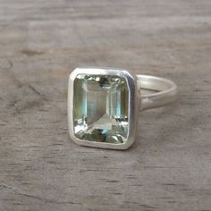 Green Amethyst Emerald Cut Gemstone Ring in by onegarnetgirl
