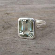 Green Amethyst Emerald Cut Gemstone Ring in by onegarnetgirl