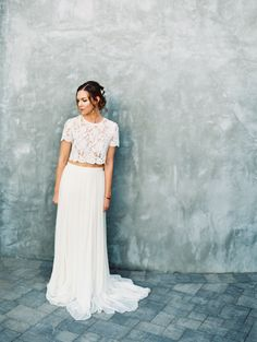 Photography : Mirelle Carmichael Photography | Wedding Dress : Alexandra Grecco Read More on SMP: http://www.stylemepretty.com/little-black-book-blog/2016/05/05/cropped-top-two-piece-new-spring-style-crush/