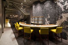 ramen bar suzuki extraordinary restaurant design with mosaic walls intended for mosaic in interior Precise Execution of Mosaic in the Interior Lounge Design, Pub Design, Retail Design, Bar Lounge, Ramen Bar, Ramen Restaurant, Restaurant Seating, Vietnamese Restaurant, Restaurant Ideas
