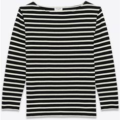Saint Laurent Classic Marinière Long Sleeve Top (625 CAD) ❤ liked on Polyvore featuring tops, shirts, saint laurent, long sleeve cotton tops, structure shirt, long sleeve cotton shirts, cotton shirts and long-sleeve shirt