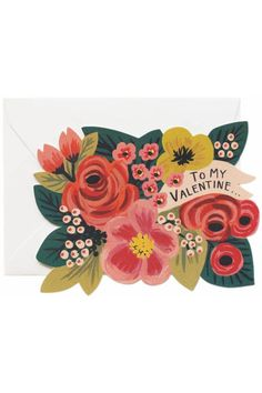 """Tell your wonderful Valentine how you feel with this beautiful Valentine's card. The romantic design features colorful flowers and the words """"TO MY VALENTINE..."""". Made by Rifle Paper Company this pretty card is printed in the USA using environmentally responsible printing techniques. Includes a high quality envelope.  It is an A2 format card so it measures 4.25"""" x5.5""""  My Valentine Card by Rifle Paper Company. Home & Gifts - Gifts - Gifts by Occasion Boulder Colorado"""