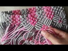Creating Macrame Bags With Motif Flower Rose color maroon combination cream by Zeptaifyx - YouTube