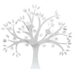 Glossy White Metal Tree Wall Decor with 3 Birds